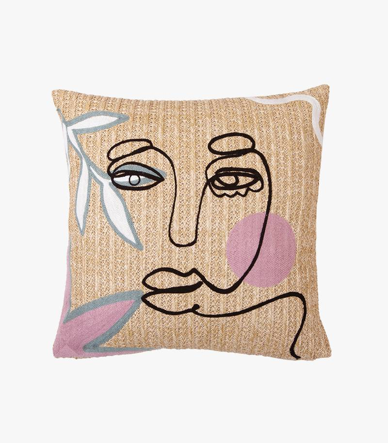 Embroideried Straw Cushion