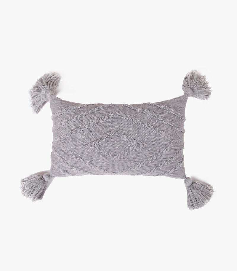 Knitted Cushion with Tassel
