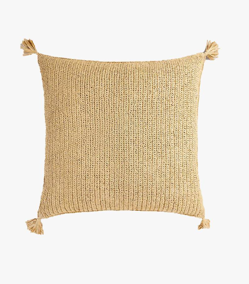Tasselled Straw Cushion