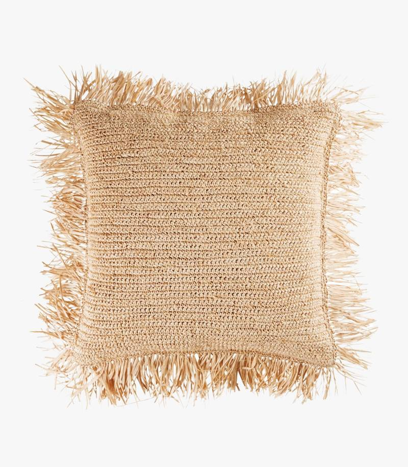 Fringed Straw Cushion